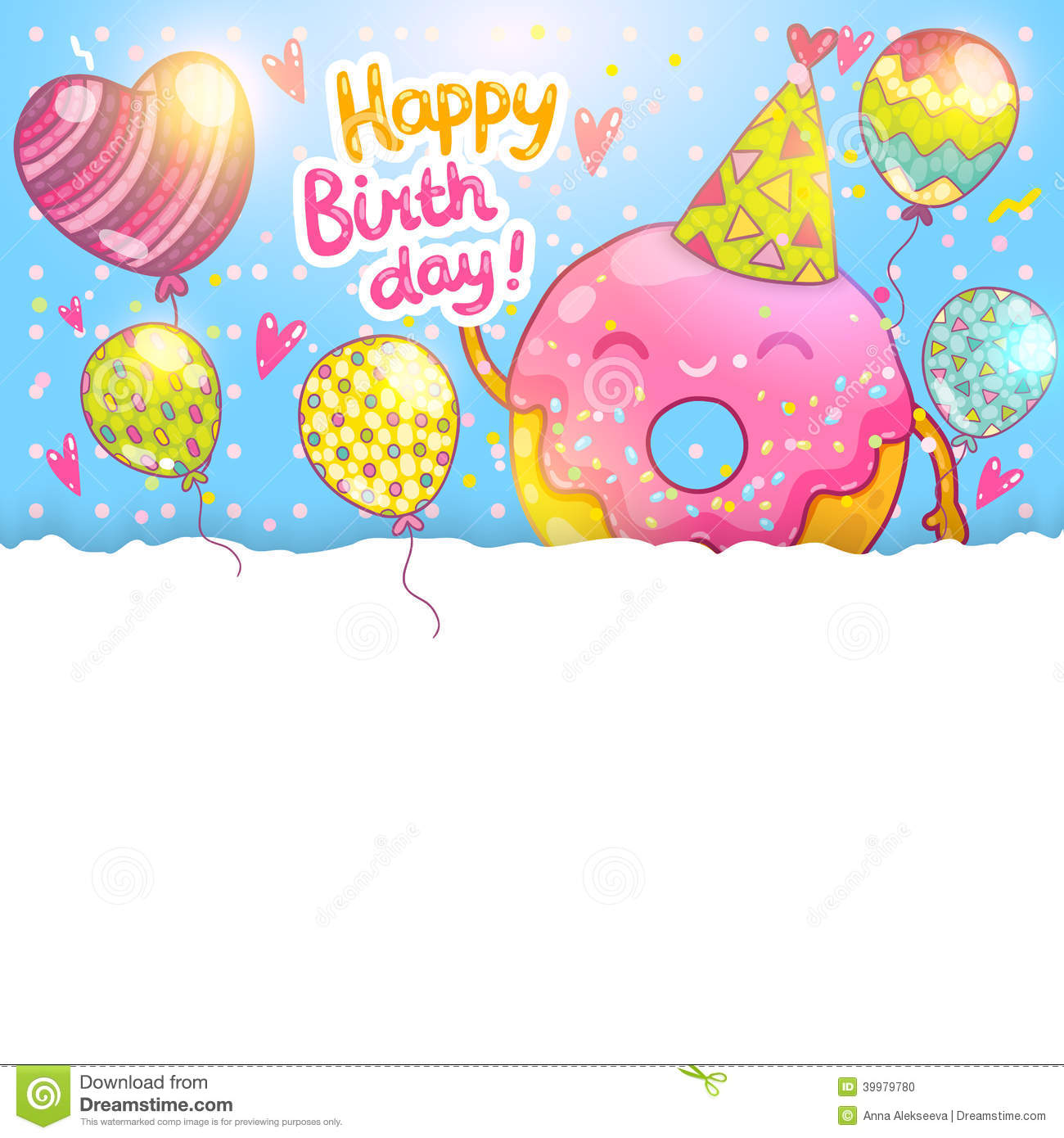 Happy Birthday Card Background With Cute Donut Stock Vector