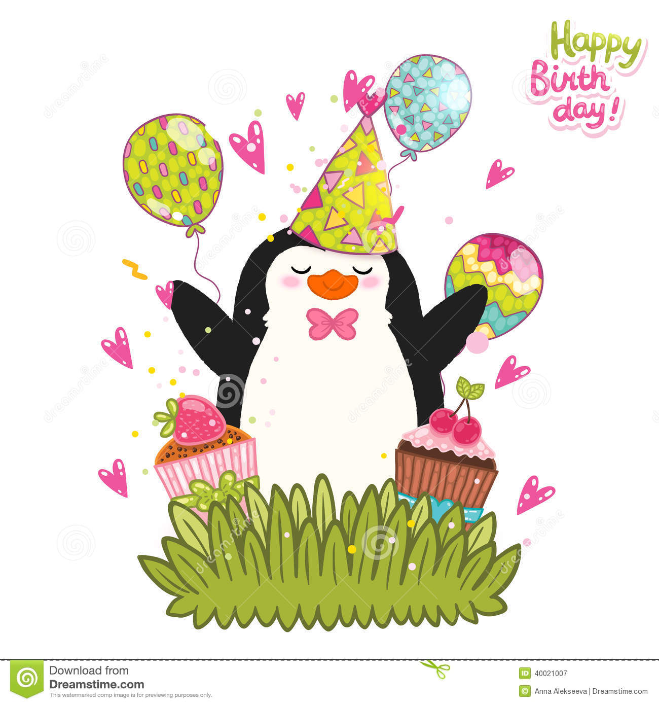 Happy Birthday Card Background With Cute Penguin. Stock Vector - Image: 40021007