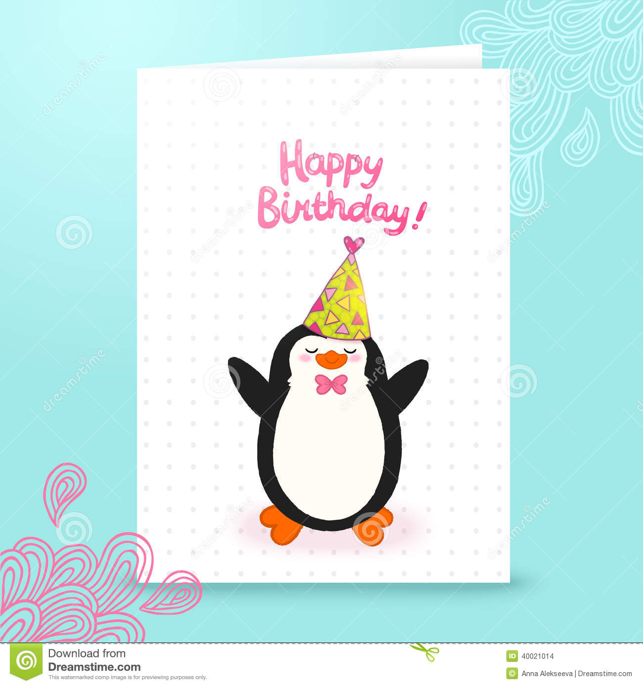 happy birthday card background with cute penguin  stock
