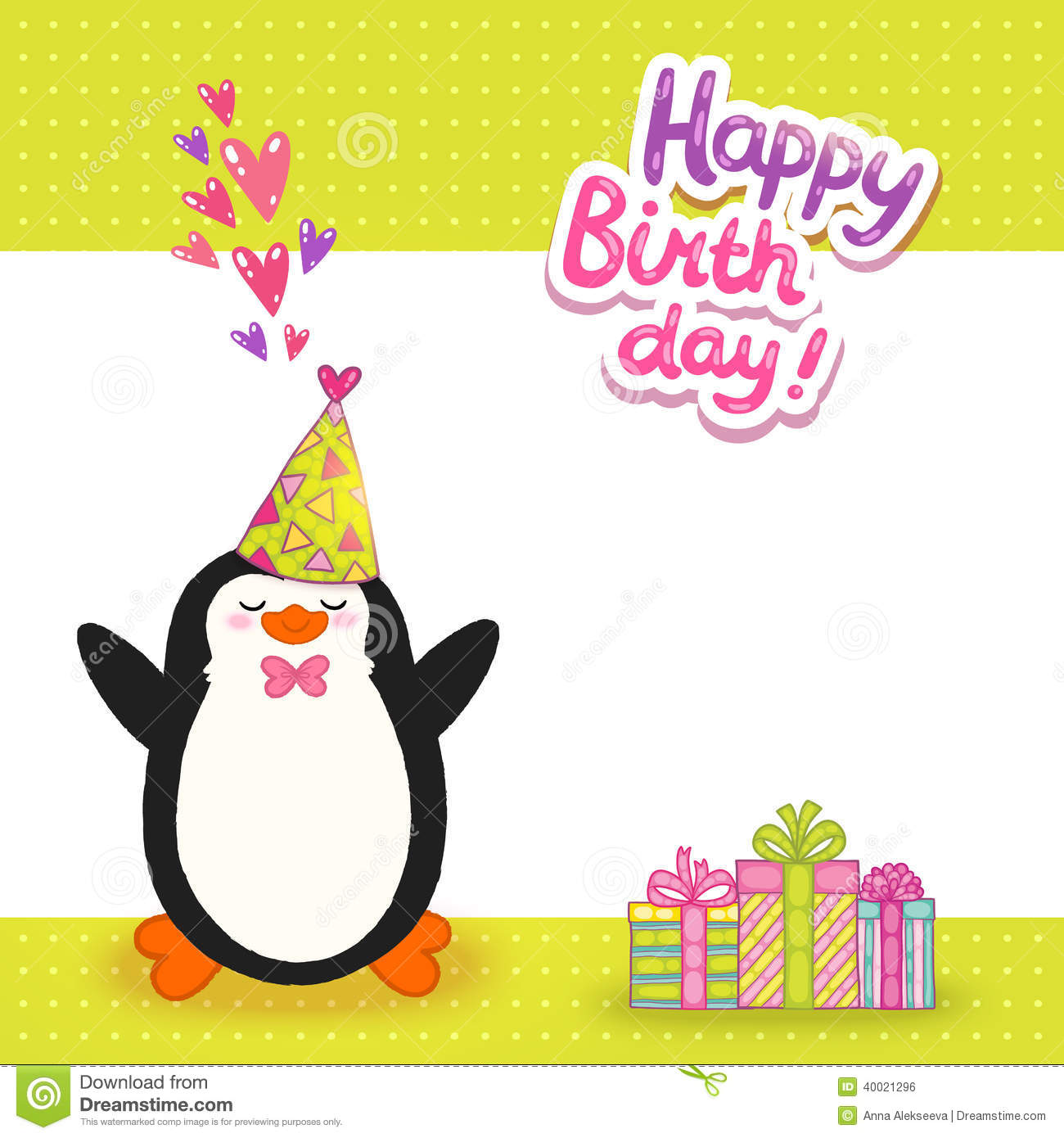 happy birthday card background with cute penguin. stock vector, Birthday card