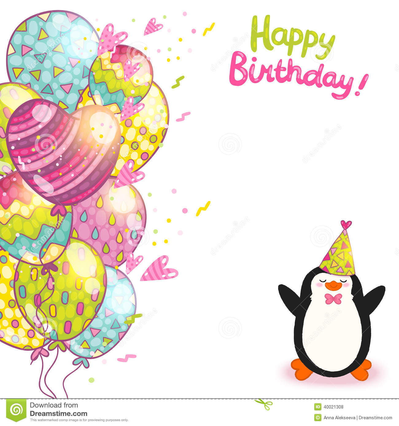 Happy Birthday Card Background With Cute Penguin. Stock ...