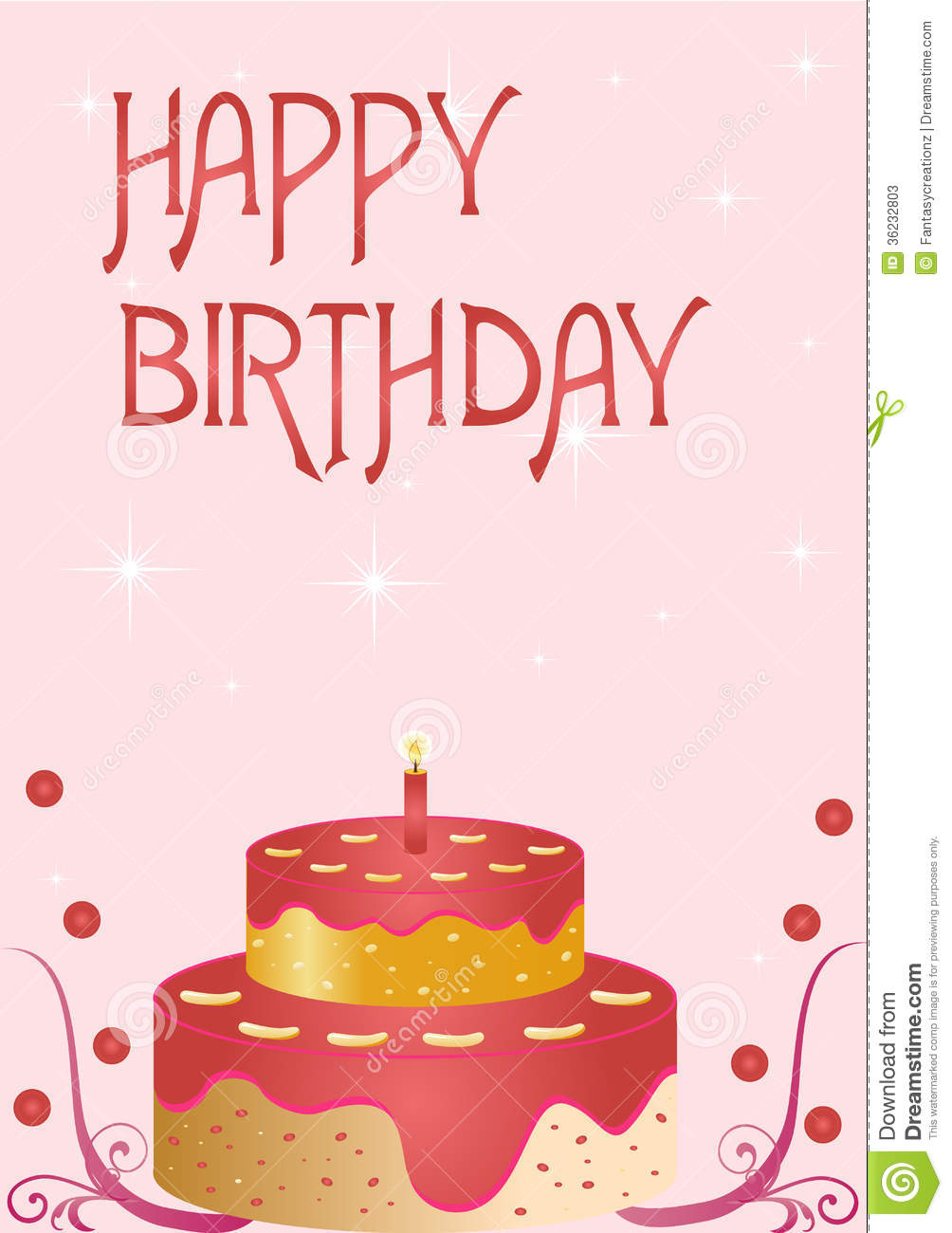 Happy Birthday Card Stock Vector Illustration Of Cake 36232803