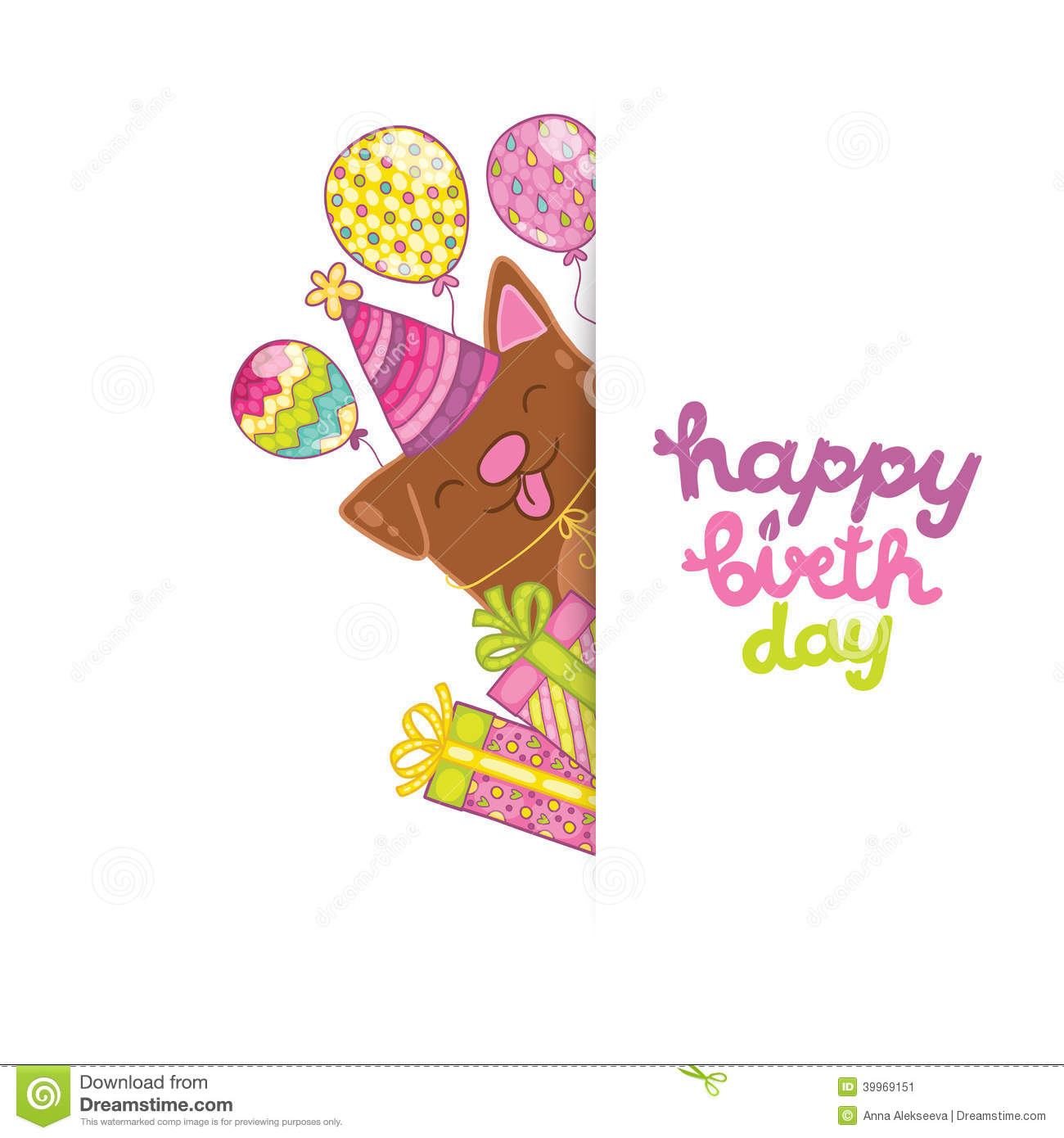 Happy Birthday Card Background With A Dog Stock Vector