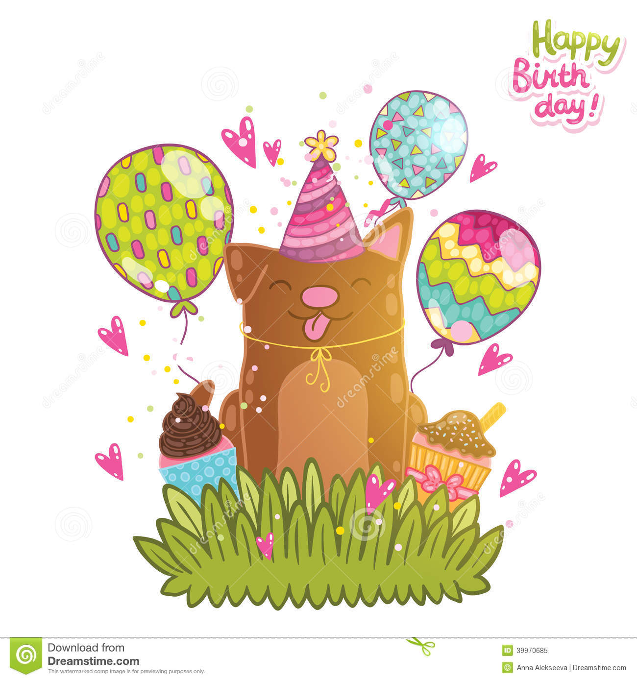 Happy Birthday Card Background With A Dog Vector Image – Happy Birthday Dog Card