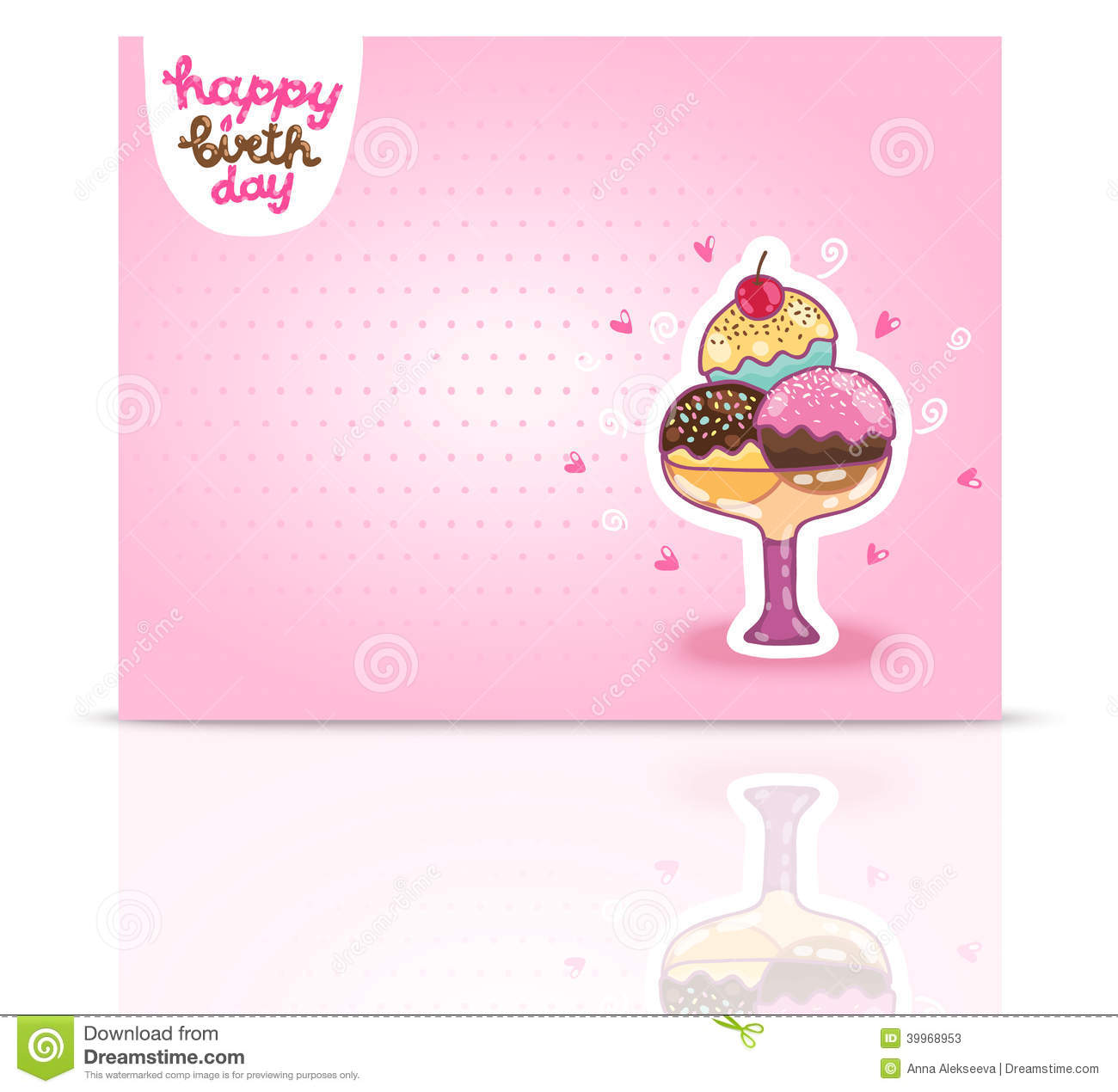 ... Birthday card background with ice cream. Vector holiday party template