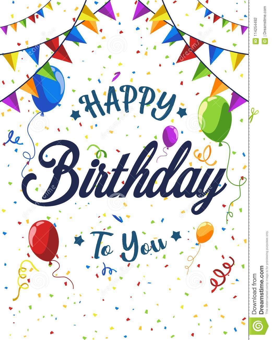 Happy Birthday Card Background Vector Illustration With Balloon And