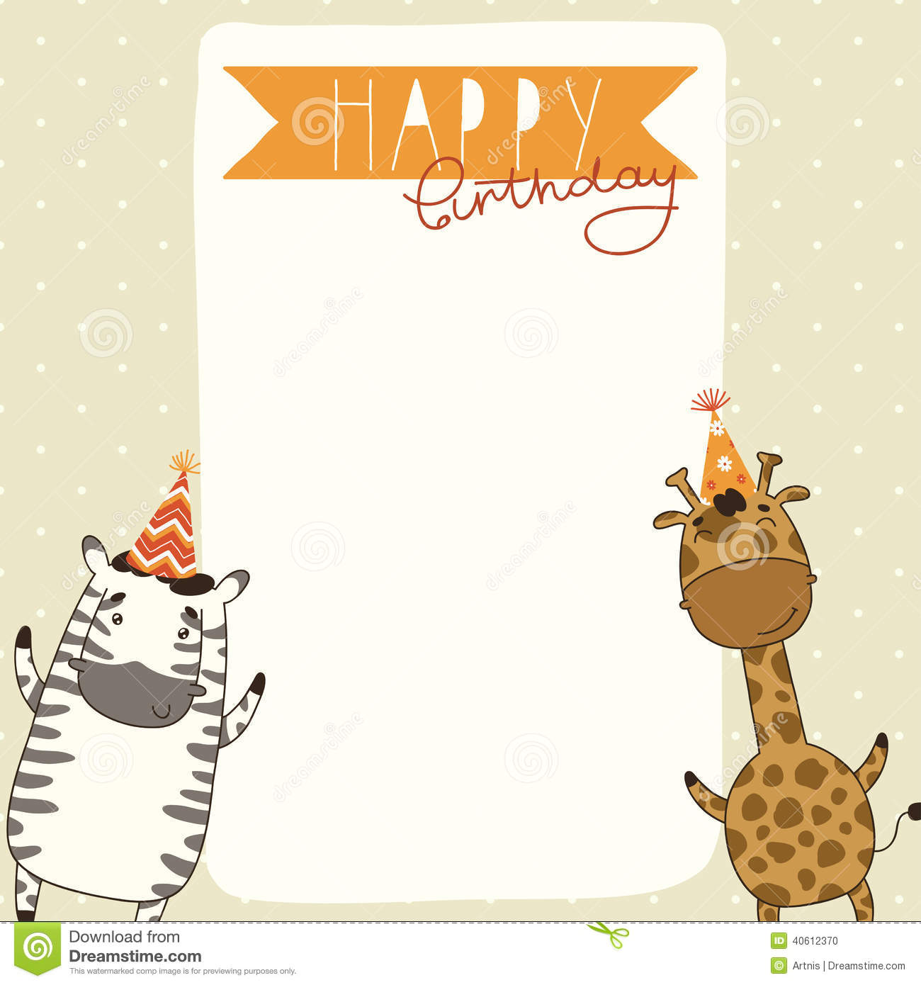 card background with zebra and giraffe. Cartoon Happy Birthday card ...