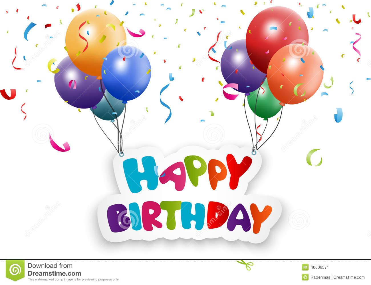 Happy Birthday Card With Balloon And Confetti Vector Image – Birthday Cards Balloons
