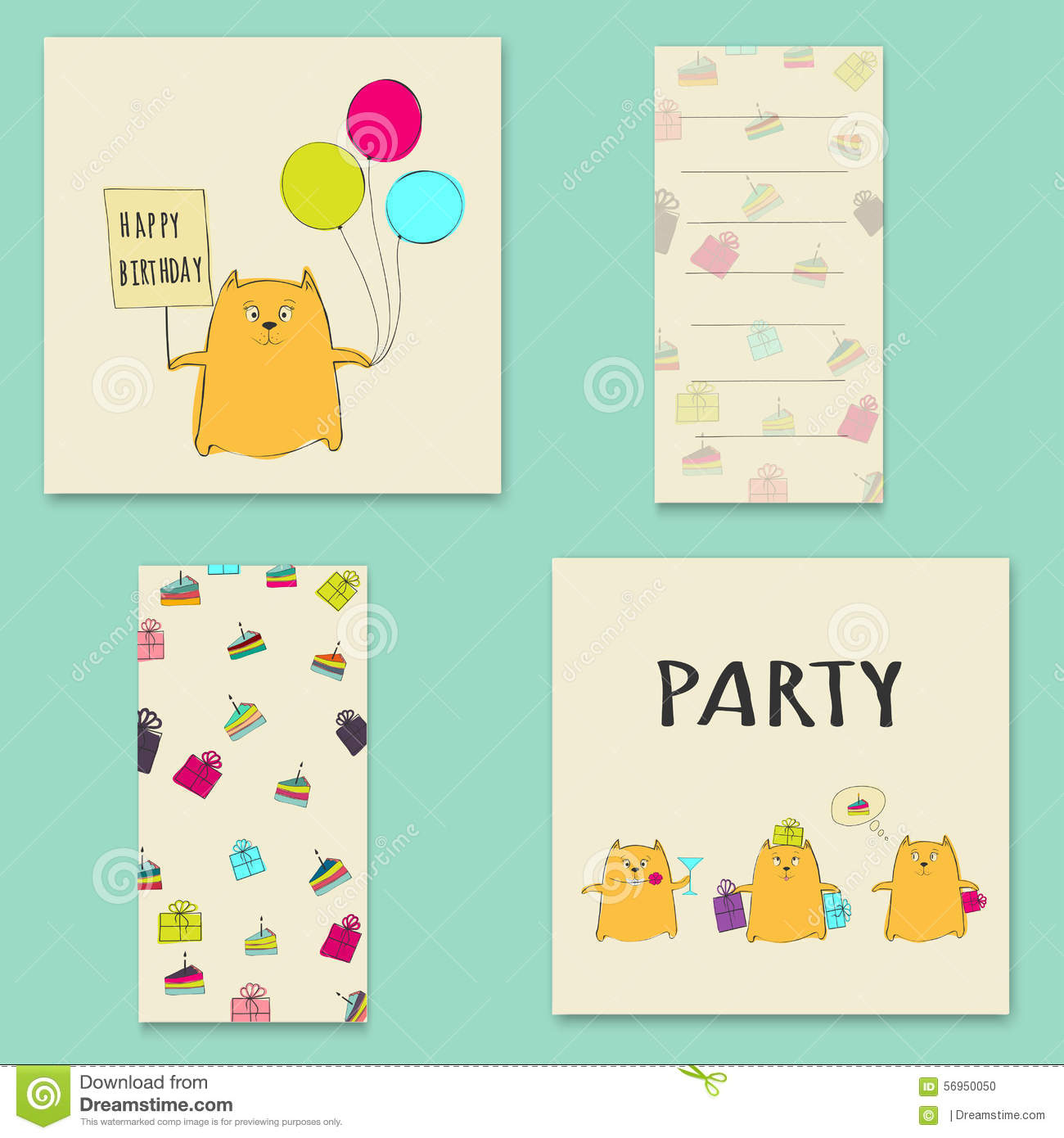 Happy Birthday Card With Balloons Cat And Cake. Stock ...
