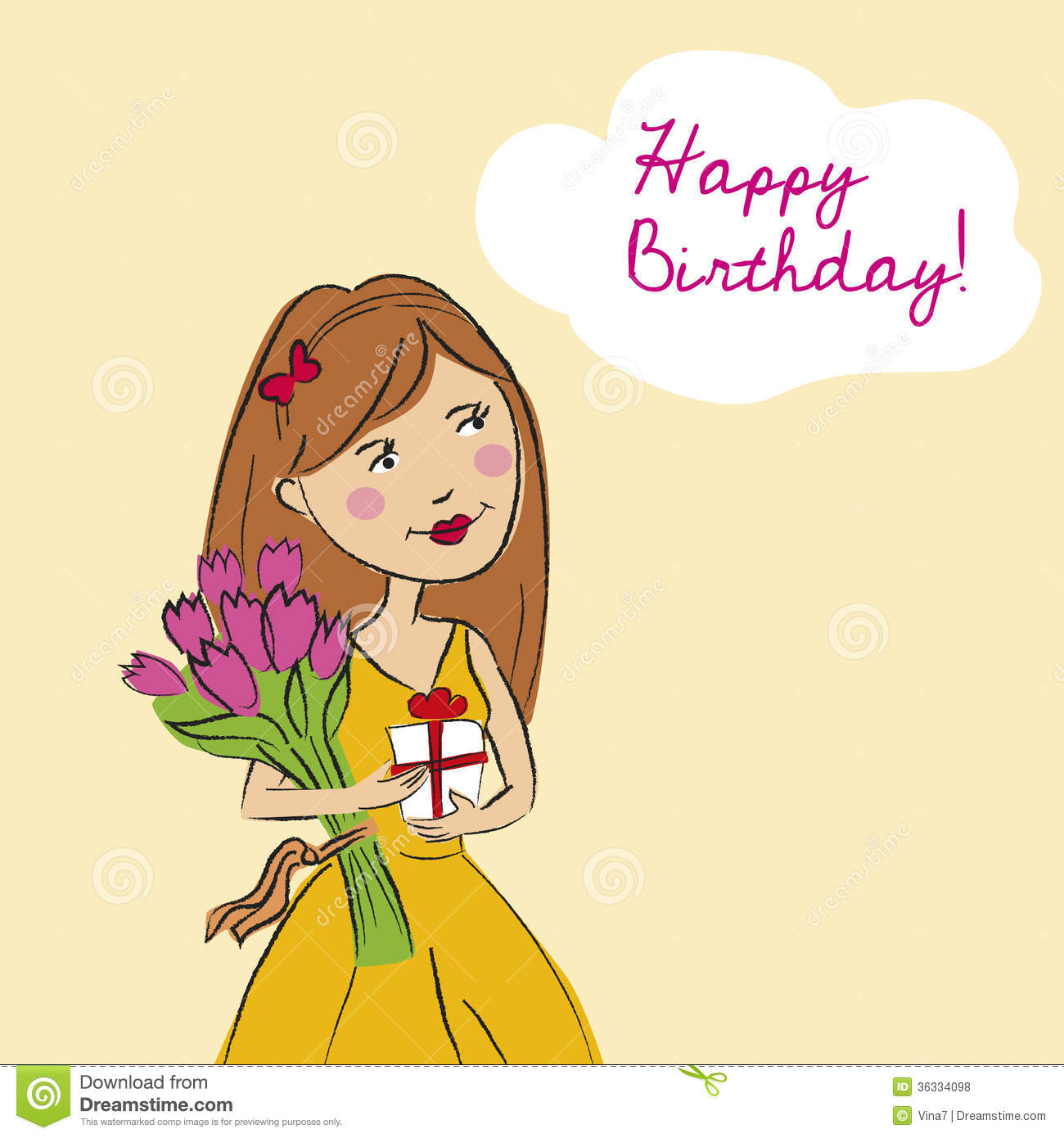 Happy Birthday Card Stock Illustration Illustration Of Bouquet