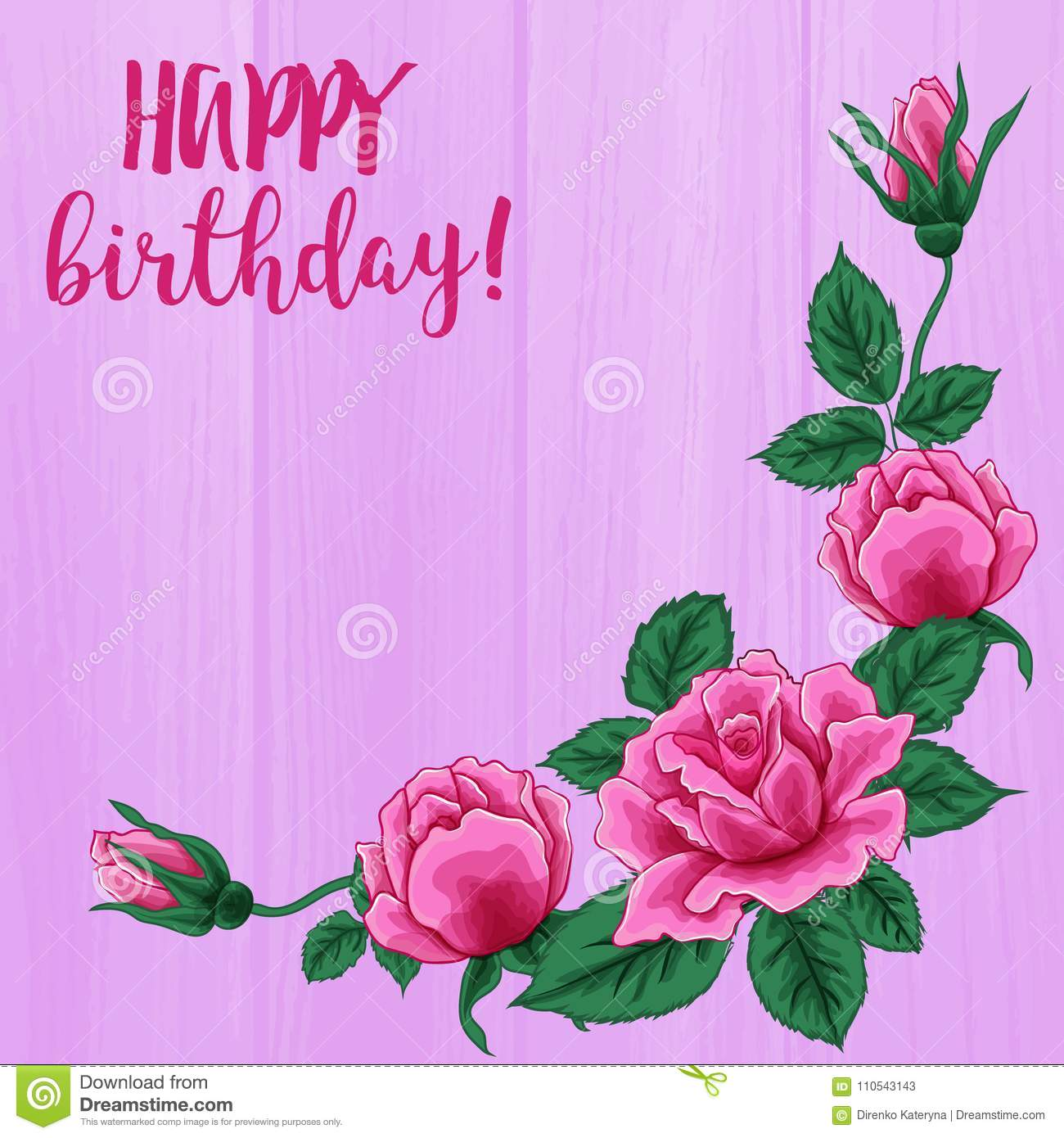 Happy Birthday Card Beautiful Roses Bouquet On Pink Wood Texture