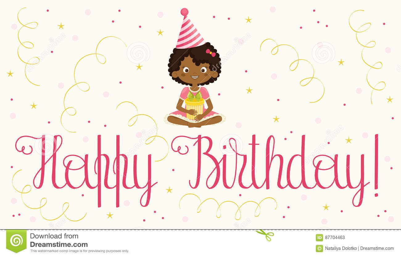 Happy Birthday Card With Black Girl