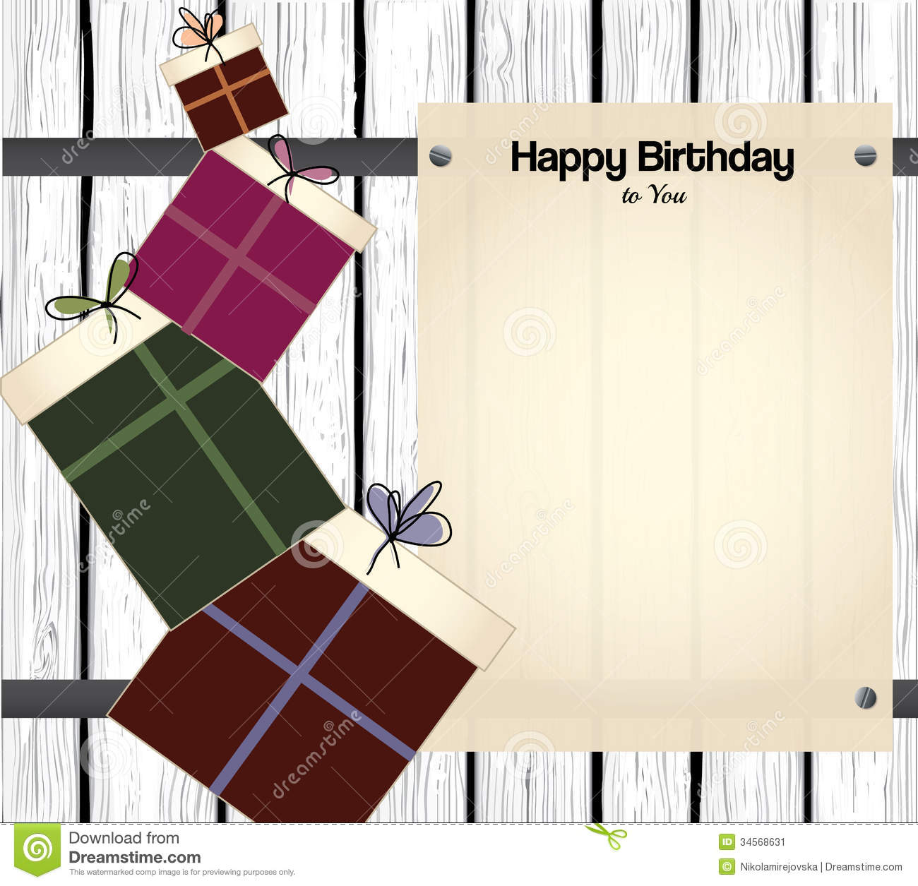 Happy Birthday Card With Blank Paper For Text