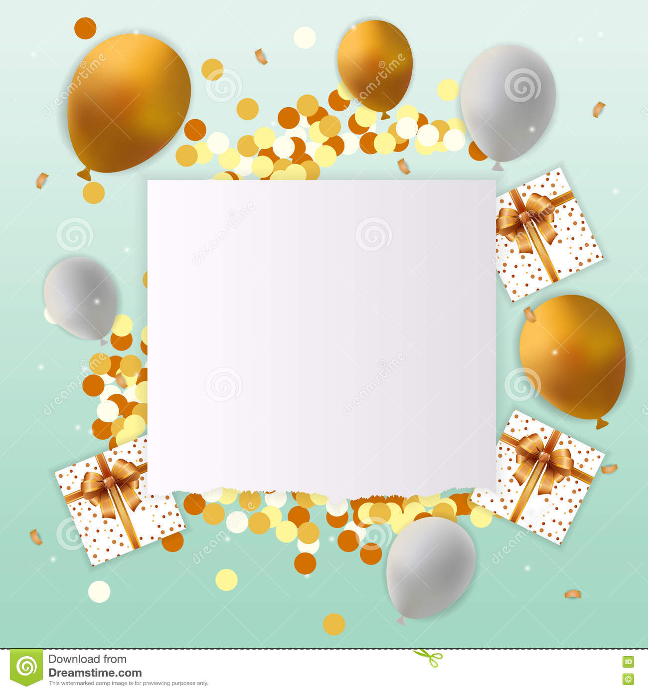 Happy Birthday Card With Blank Sign Vector Image 75639709 – Blank Birthday Cards