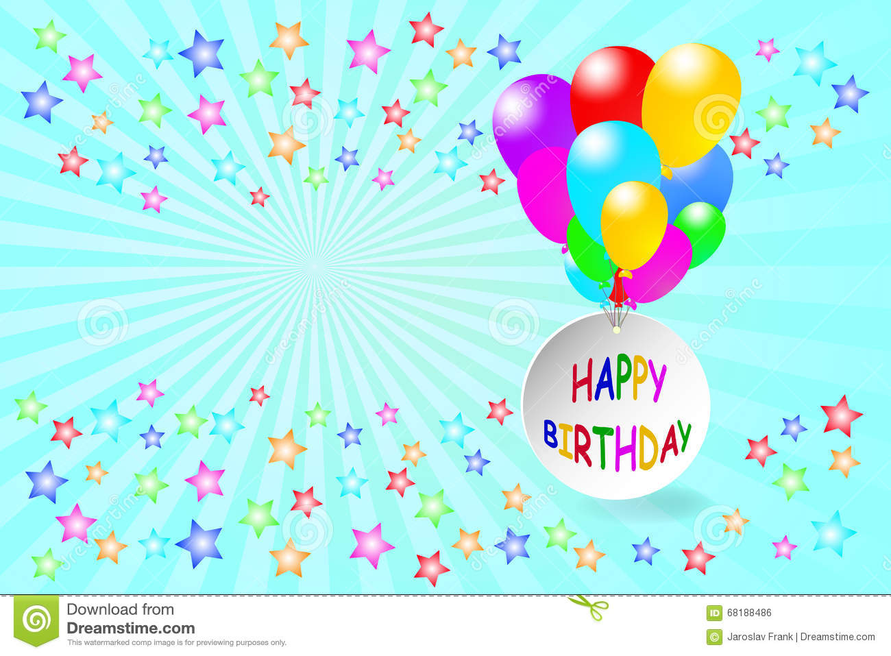 happy birthday card in blue color stock vector image 68188486