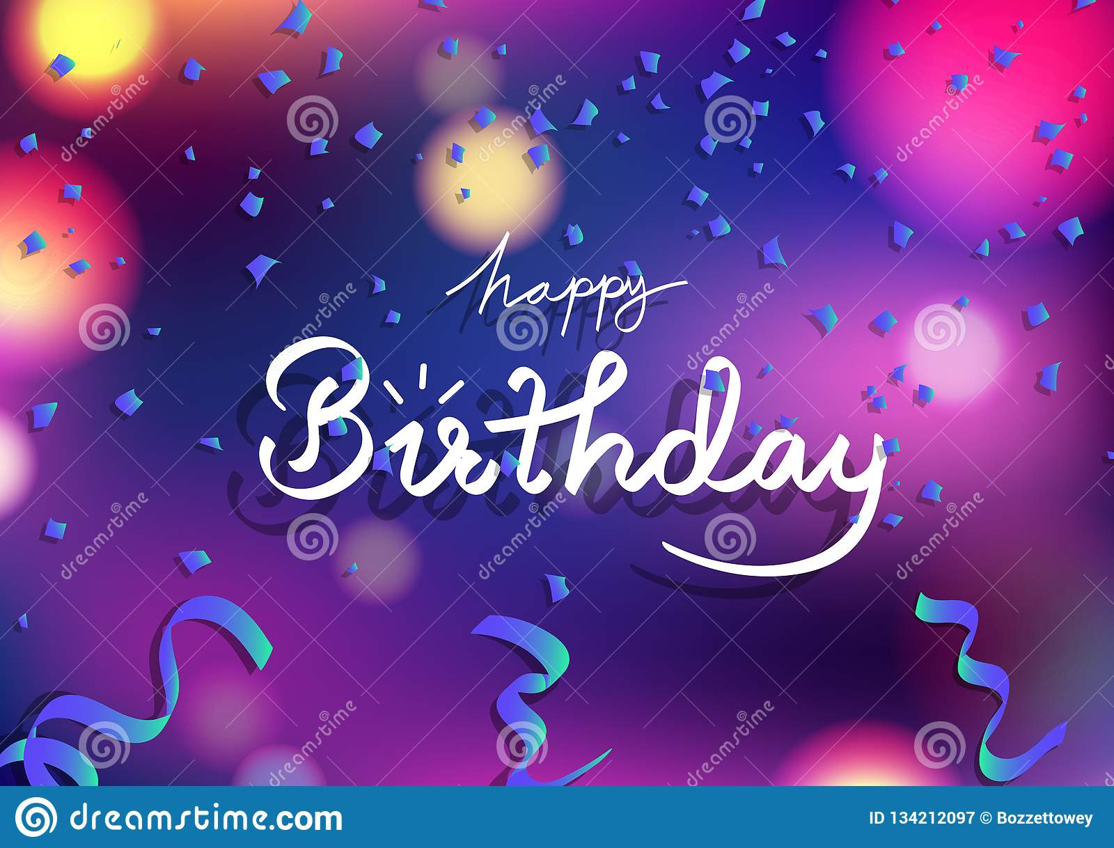 Happy Birthday Card, Blue Fantasy Ribbons Scatter And