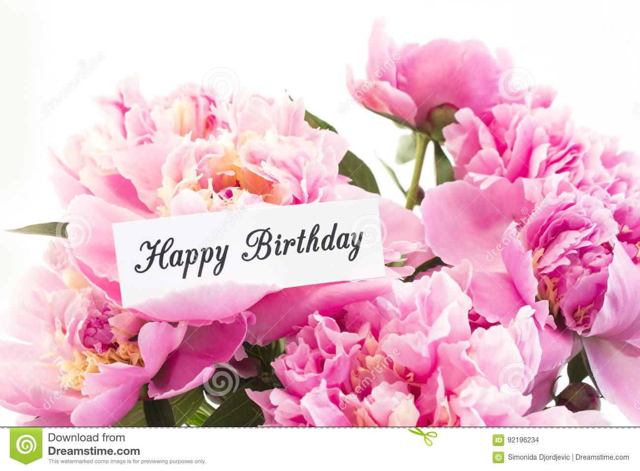 Happy birthday card with bouquet of pink peonies stock for Bouquet de fleurs 20 ans