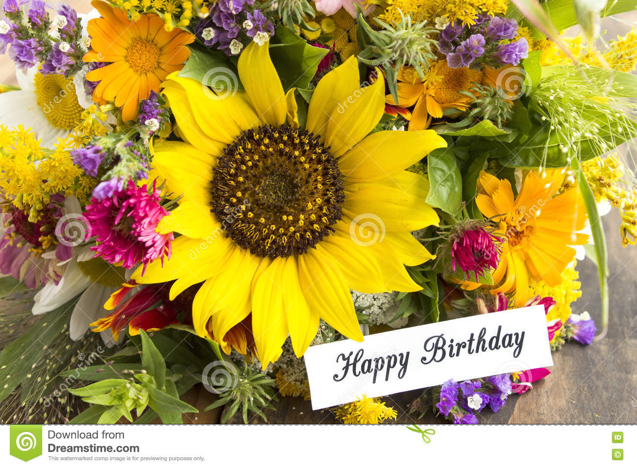 Happy Birthday Card With Bouquet Of Summer Flowers Stock Image