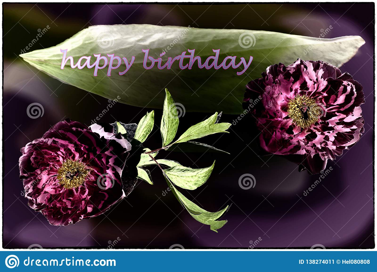 Happy Birthday card with peonies in pink, dark violet and green