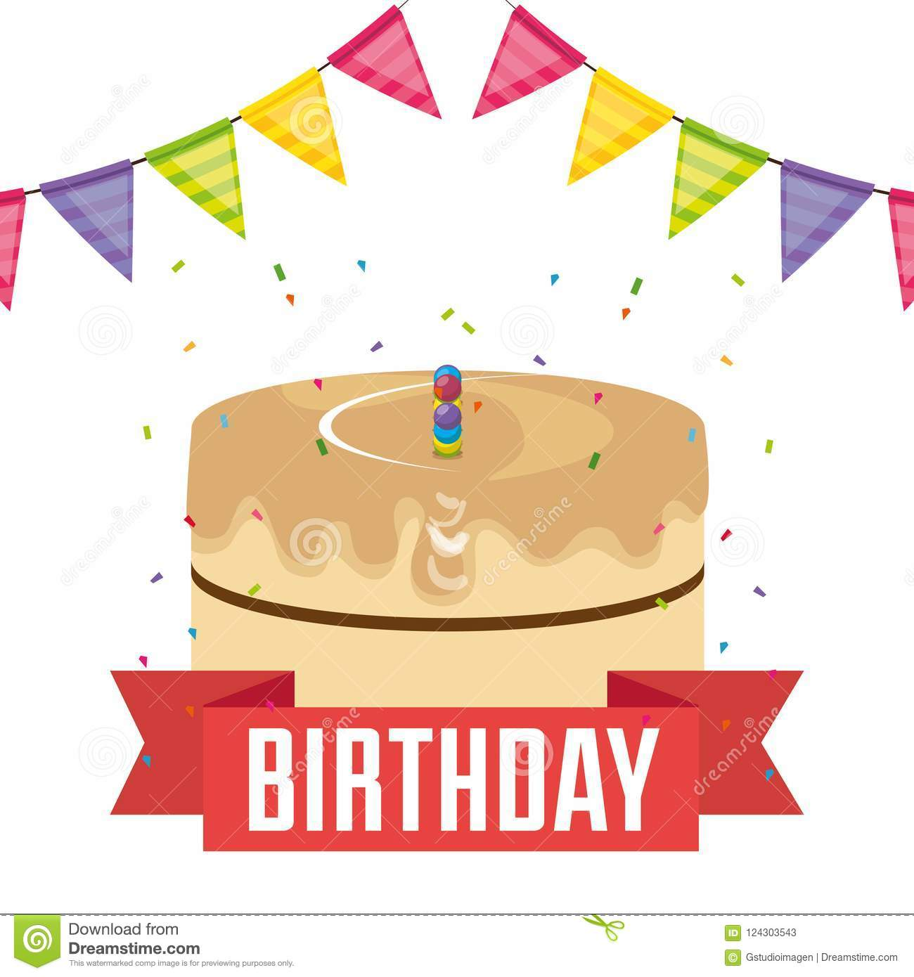 Happy Birthday Card With Cake And Garlands Stock Vector