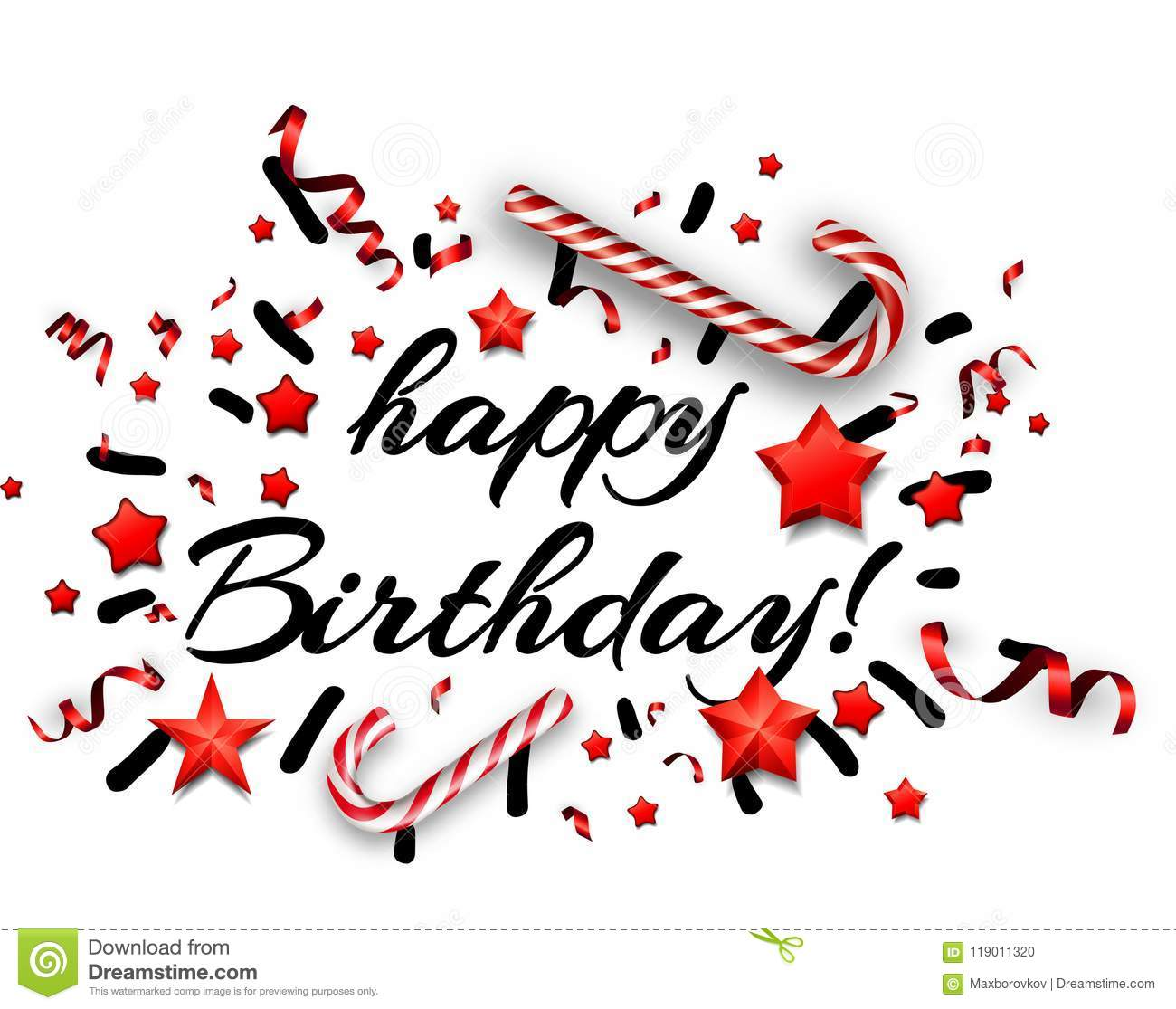 white happy birthday card with candy  stock vector