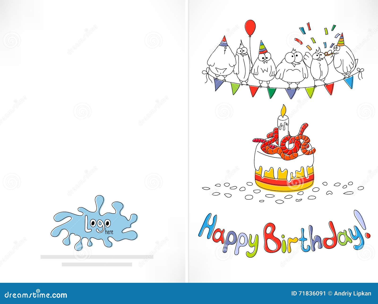 happy birthday card cartoon funny bird on a string stock