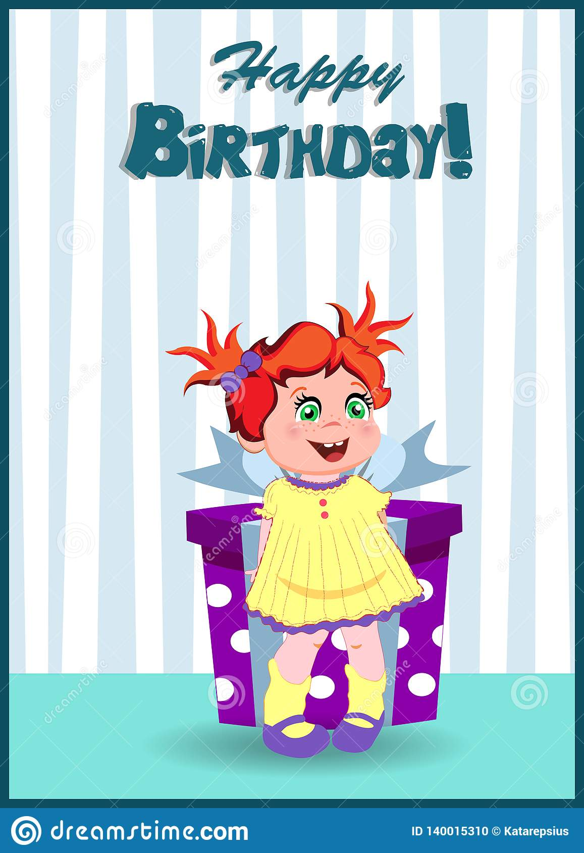 Fabulous Happy Birthday Card Of Cartoon Girl With Present Stock Vector Funny Birthday Cards Online Elaedamsfinfo