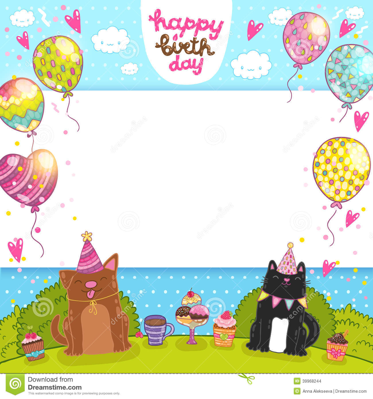 Happy Birthday Card With Cat, Dog And Cupcake Stock Vector ...