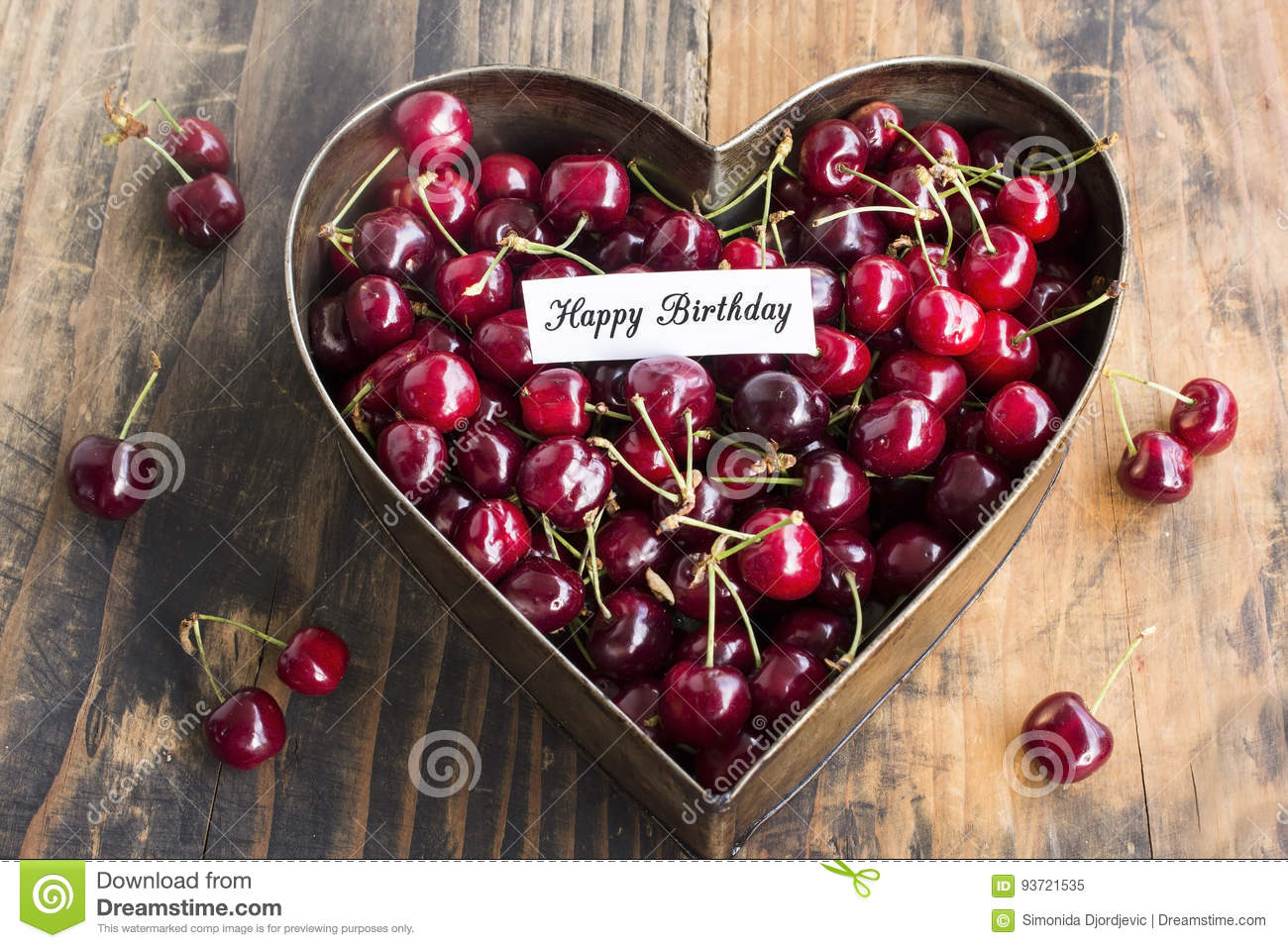 Happy Birthday Card With Cherries In Heart Cake Pan