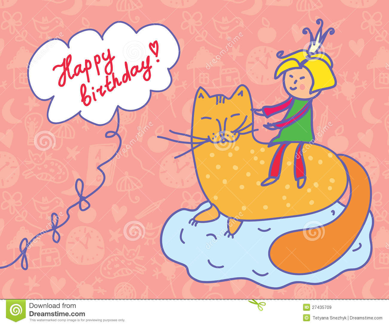 Happy Birthday Card With Child And Cat