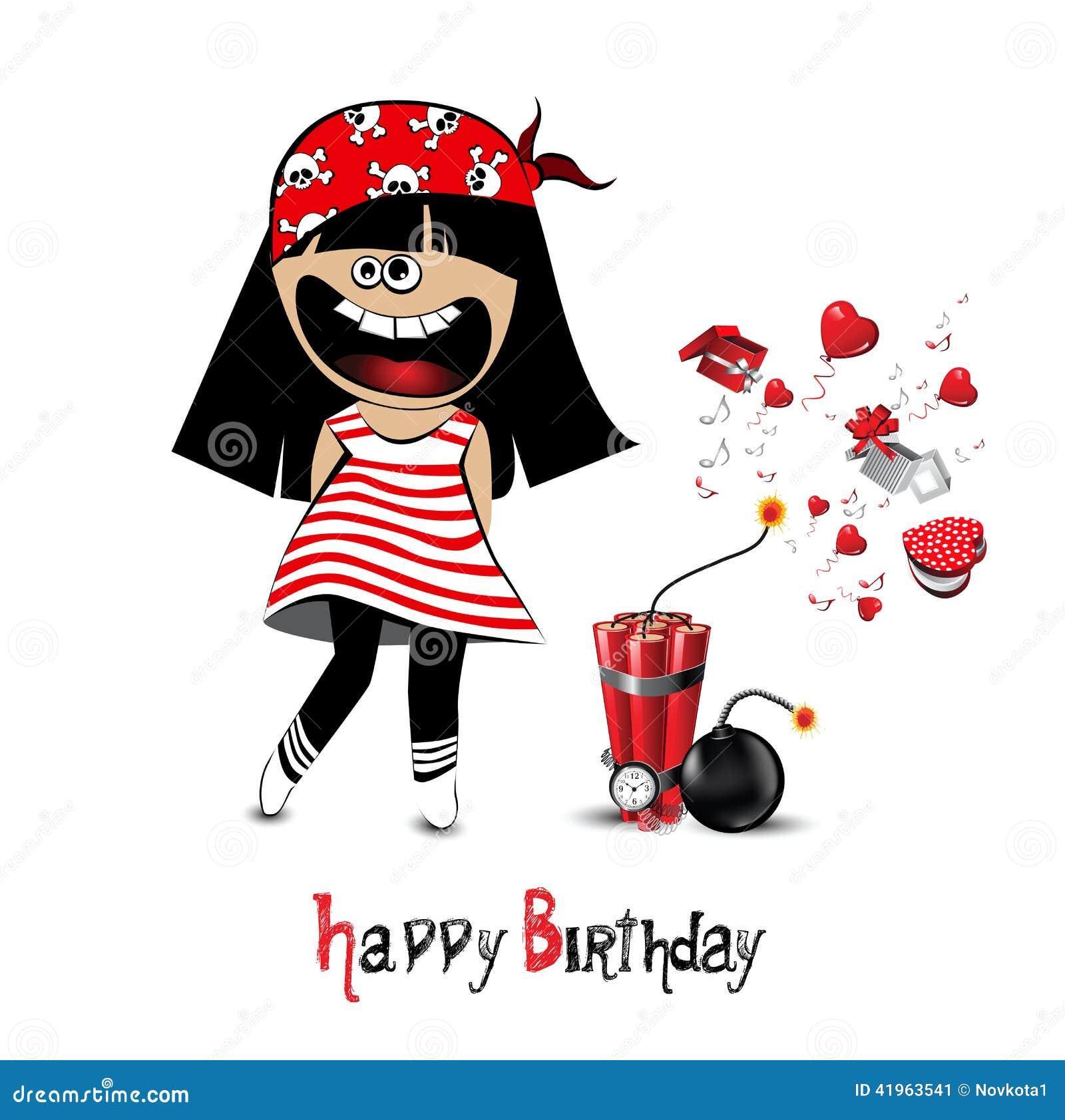Happy Birthday Card A Child Pirate Stock Illustration ...