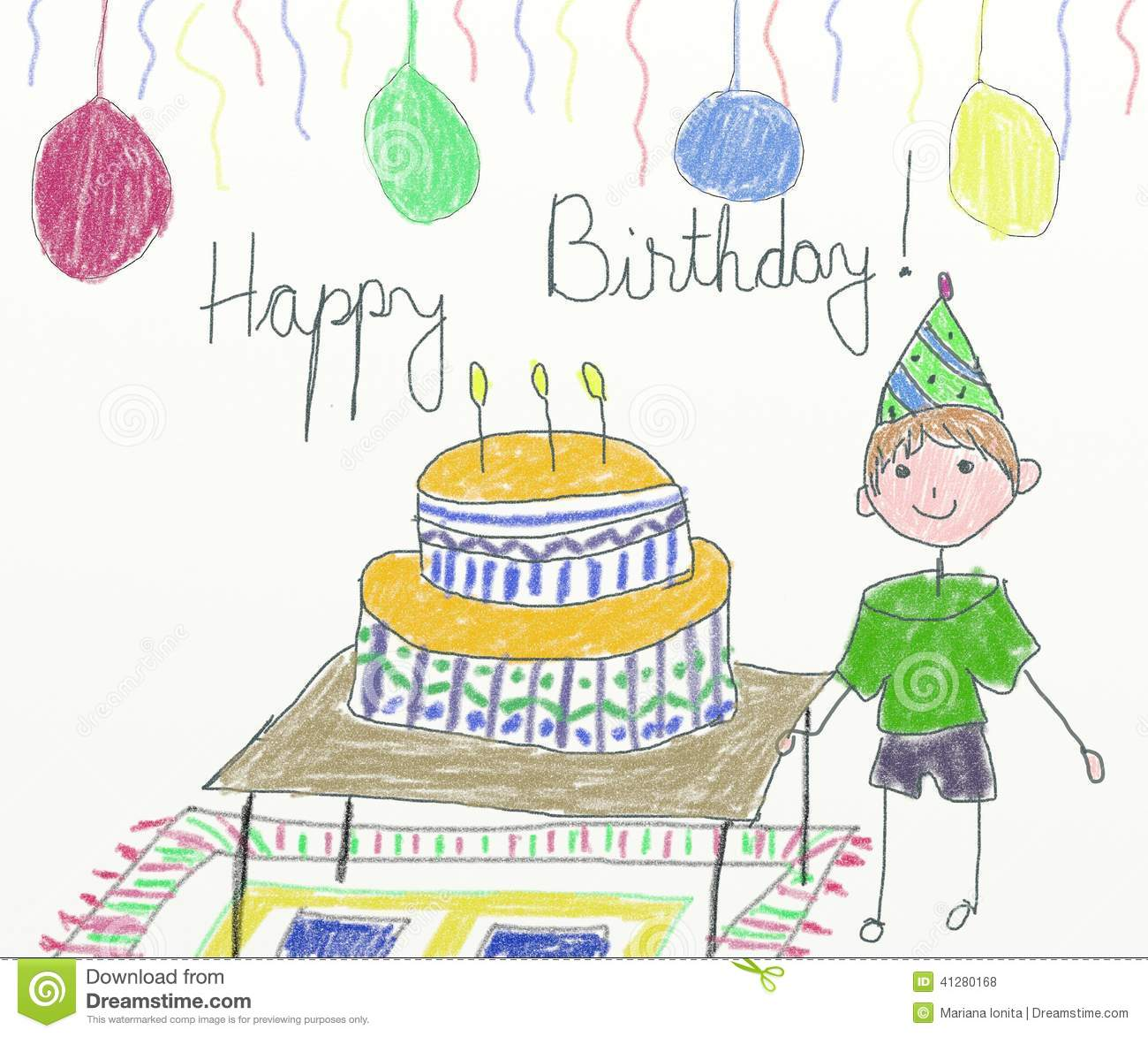 Happy birthday card children drawing stock illustration happy birthday card children drawing bookmarktalkfo Choice Image