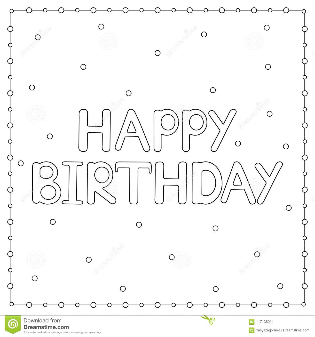 Happy Birthday Card With Circles. Coloring Page Stock Illustration ...