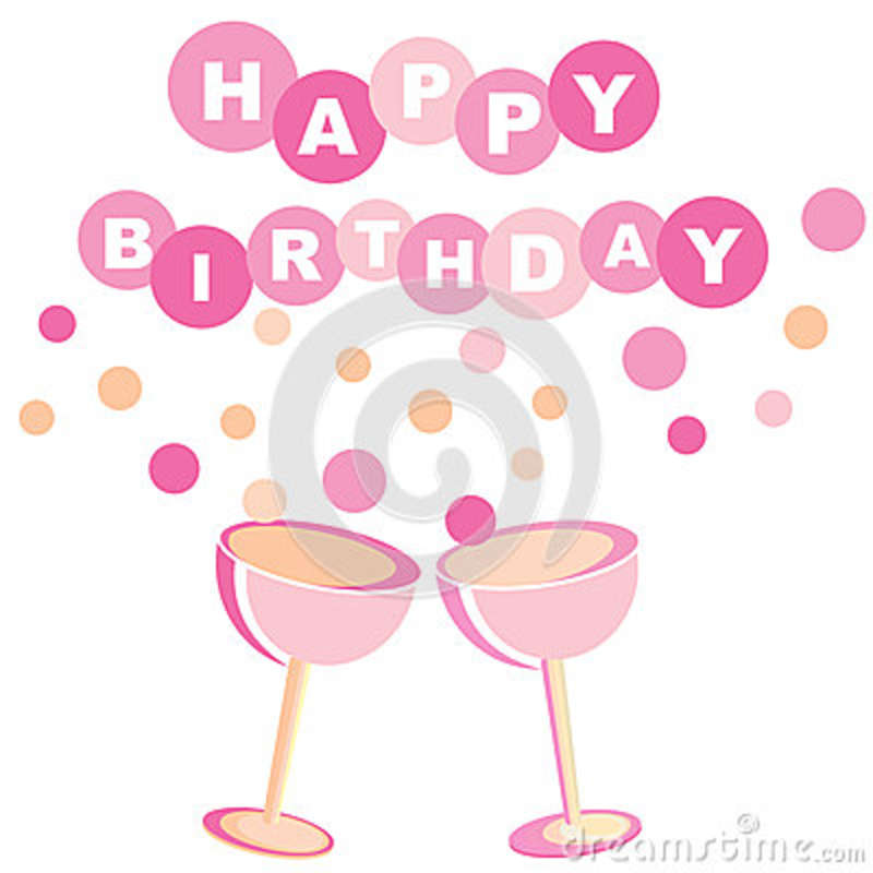 Color Happy Birthday Card With Wine Glasses And Bubbles