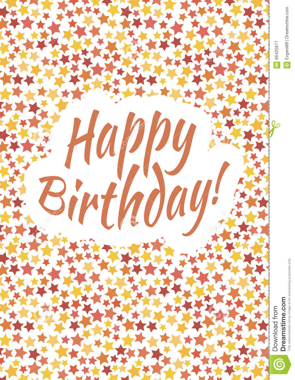 Happy Birthday Card Cover With Red Yellow And Orange Stars Stock