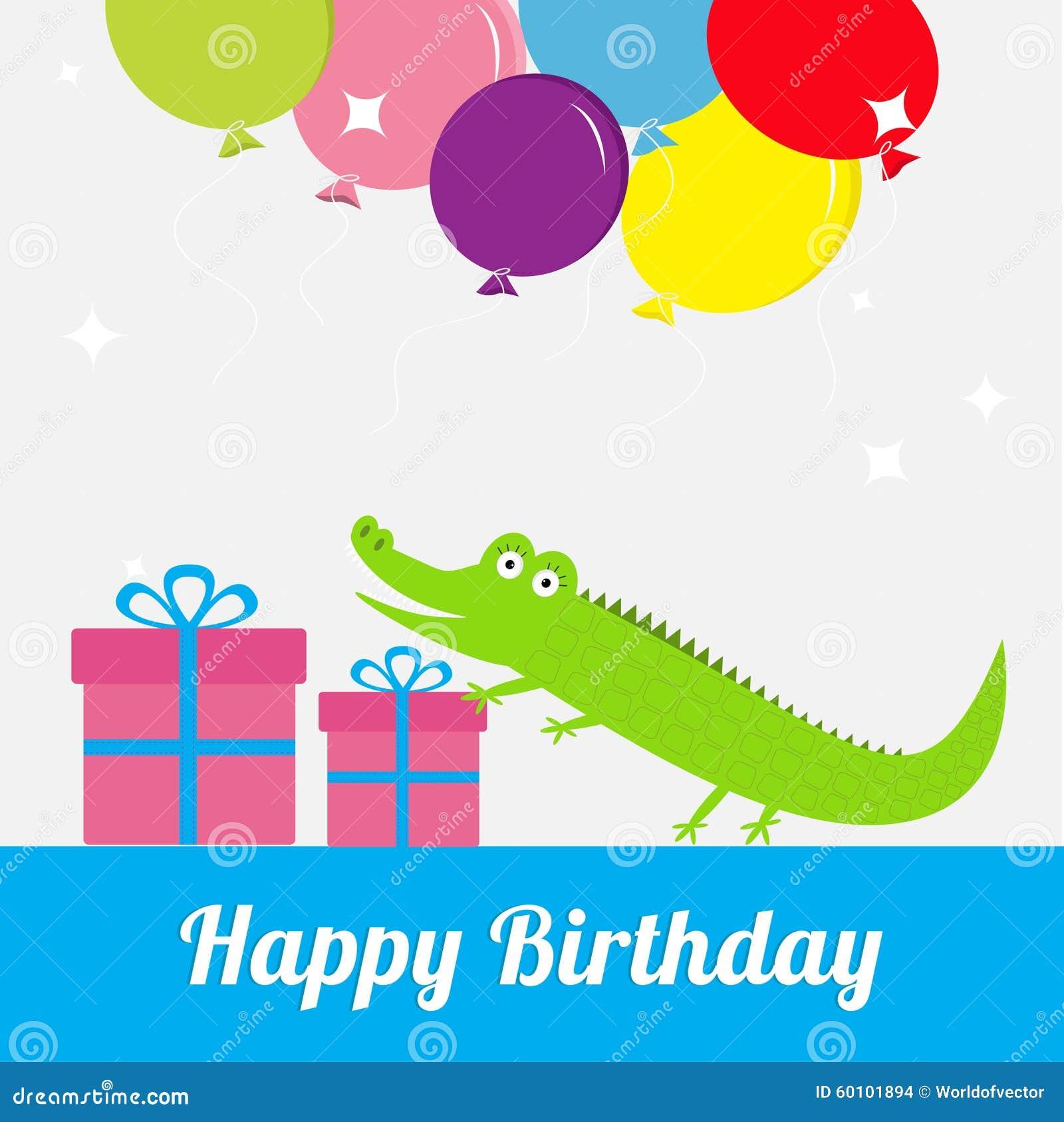 Happy birthday card with cute alligator giftbox balloons baby happy birthday card with cute alligator giftbox balloons baby background flat design bookmarktalkfo Choice Image