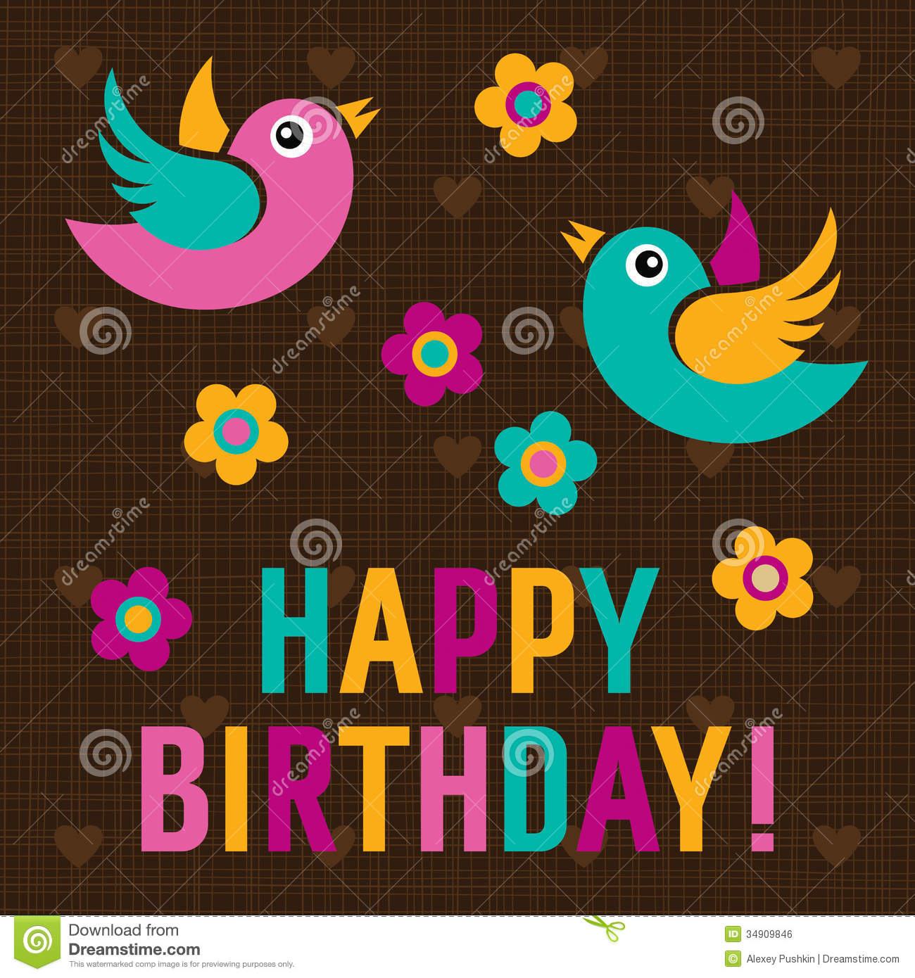 Happy Birthday Card With Cute Birds Royalty Free Image – Birthday Card with Pictures