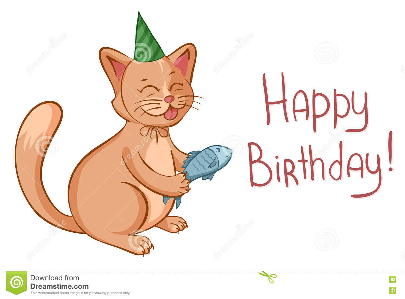Happy Birthday Card With Cute Cartoon Cat In Hat Gives A Fish Vector