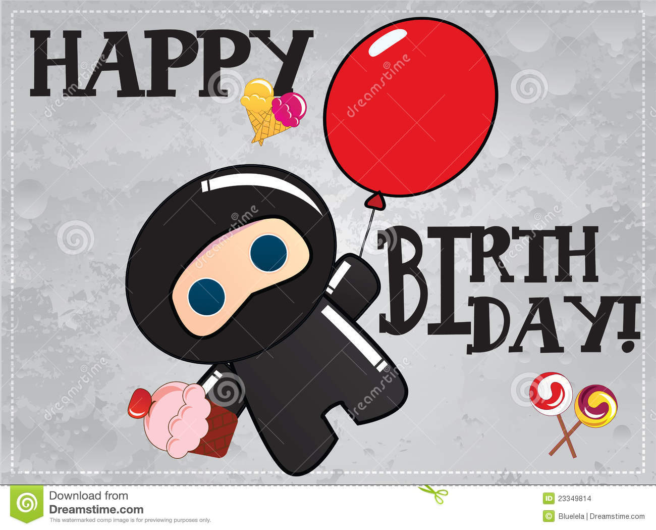Happy Birthday Card With Cute Cartoon Ninja Character Holding A Balloon In One Hand And Cup Cake Another