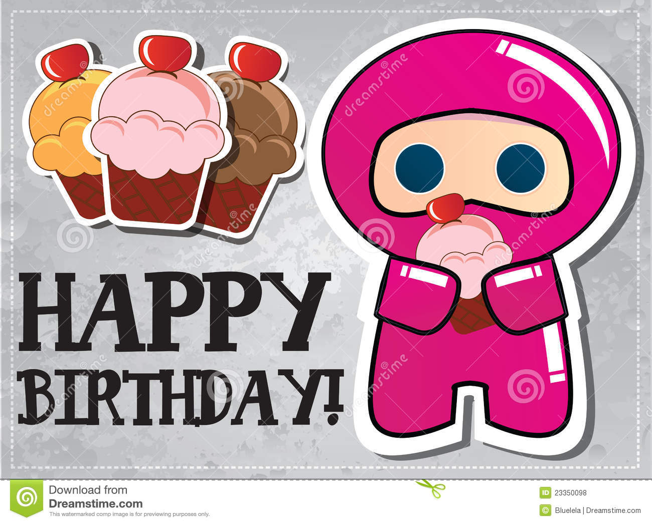 Happy Birthday Card With Cute Cartoon Ninja