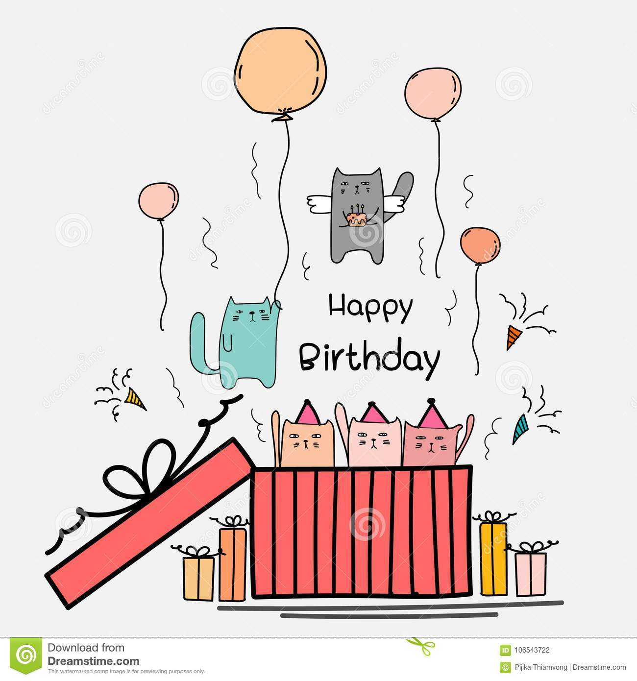Prime Happy Birthday Card With Cute Cat In The Big Gift Box Angels Cat Funny Birthday Cards Online Overcheapnameinfo