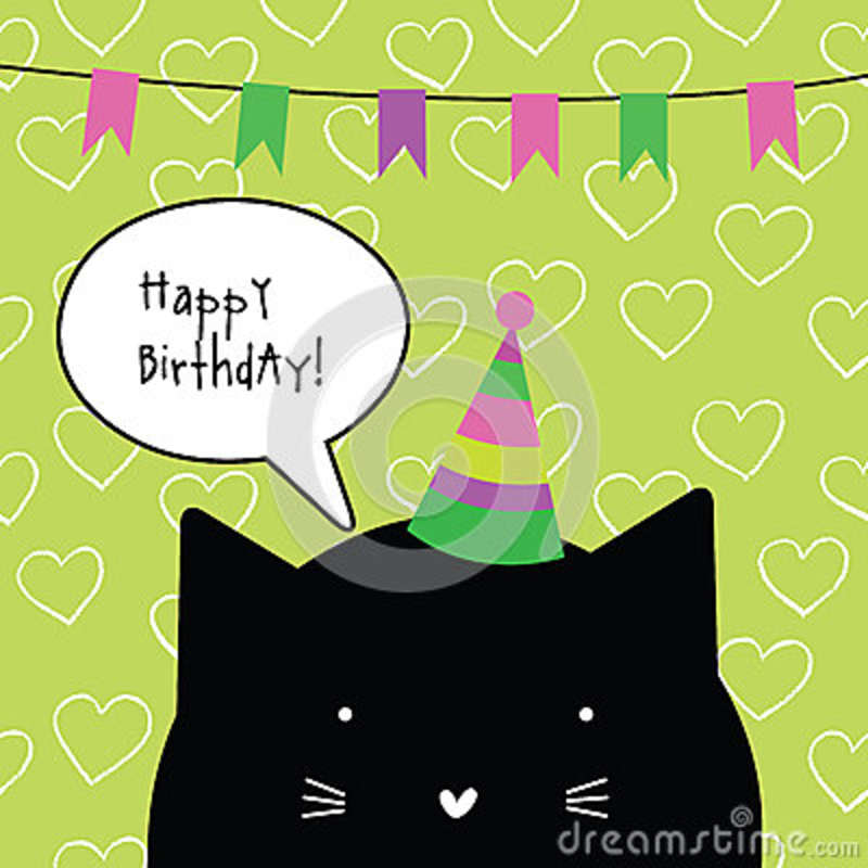 Happy Birthday Card With Cute Cat Character Greeting Card Desi