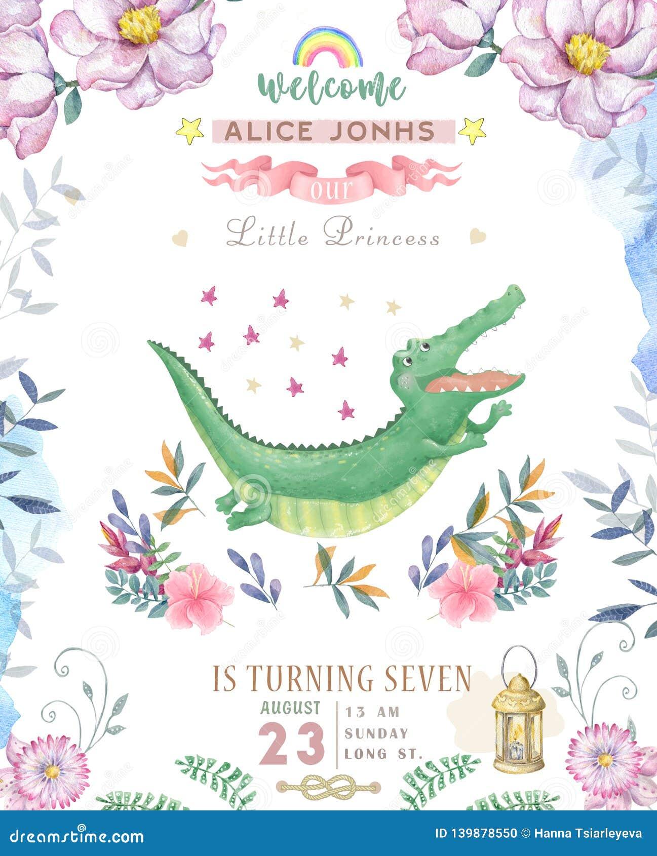 Happy Birthday Card With Cute Croc Dandy Watercolor Animal Cute