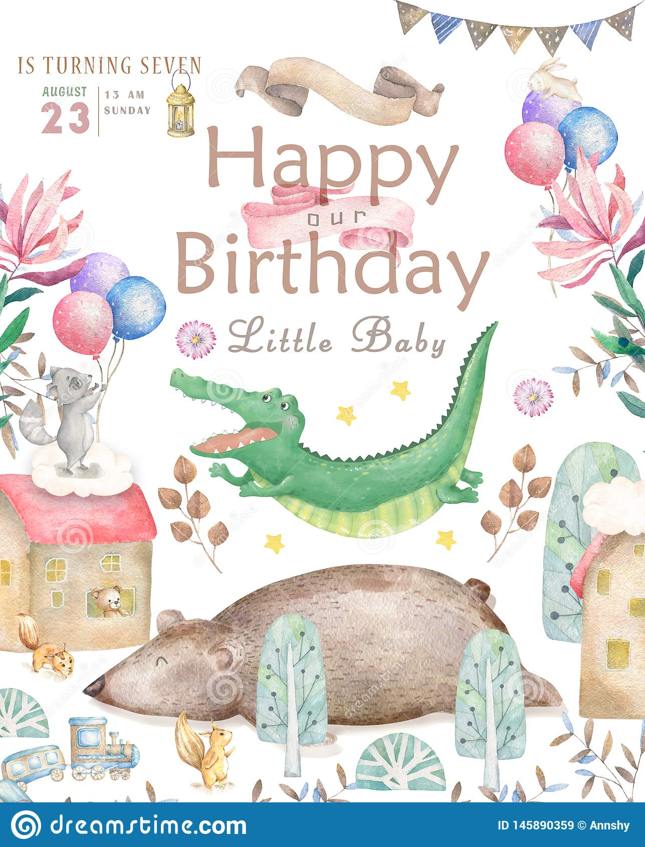 Happy Birthday Card With Cute Croc Dandy Watercolor Animal Cute Baby Greeting Card Boho Flowers And Floral Bouquets Stock Illustration Illustration Of Carnival Congratulation 145890359