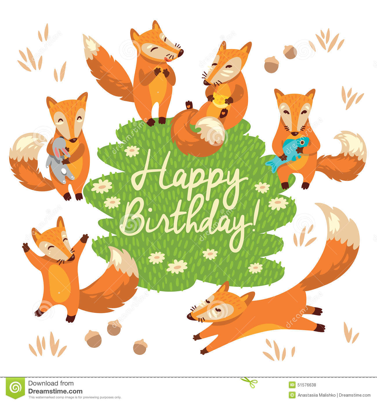Happy birthday card with cute foxes in vector stock vector happy birthday card with cute foxes in vector bookmarktalkfo Images