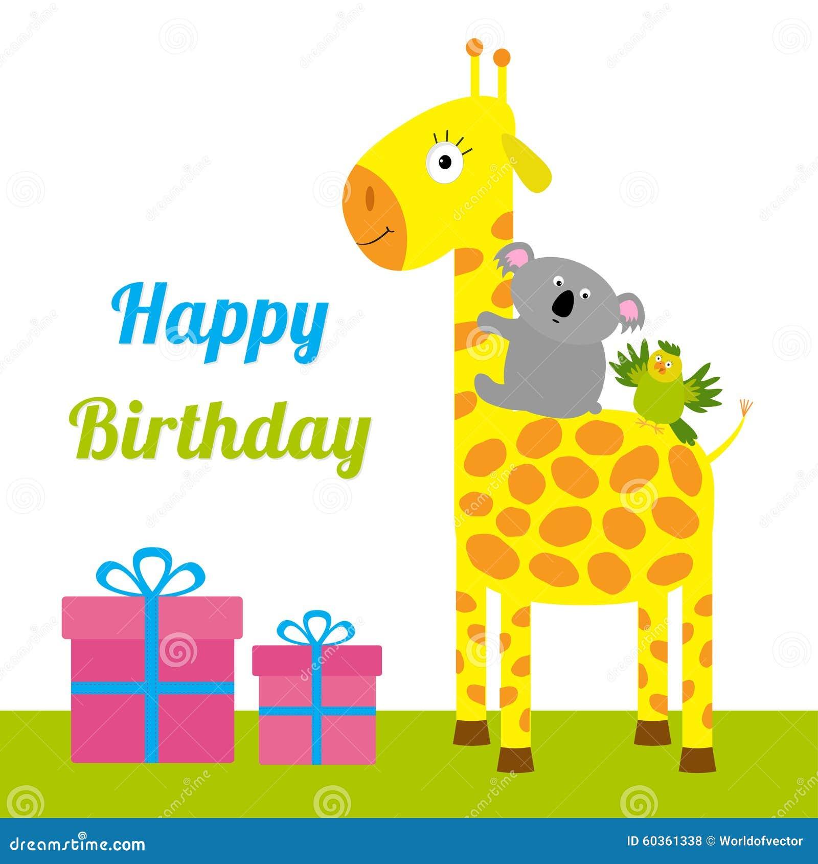 Happy birthday card with cute giraffe koala and parrot giftbox set happy birthday card with cute giraffe koala and parrot giftbox set baby background flat design bookmarktalkfo Choice Image