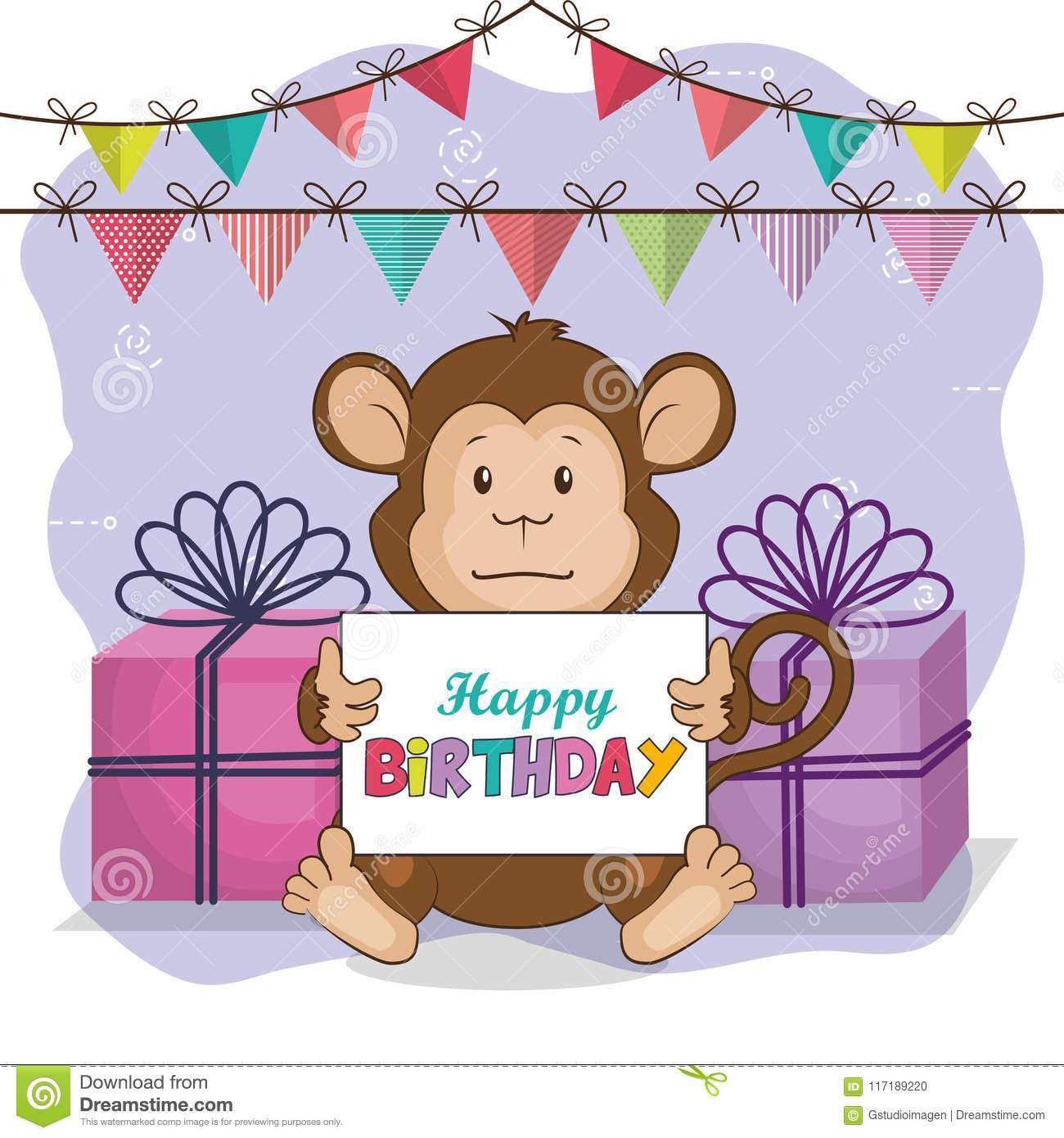 Happy Birthday Card With Cute Monkey