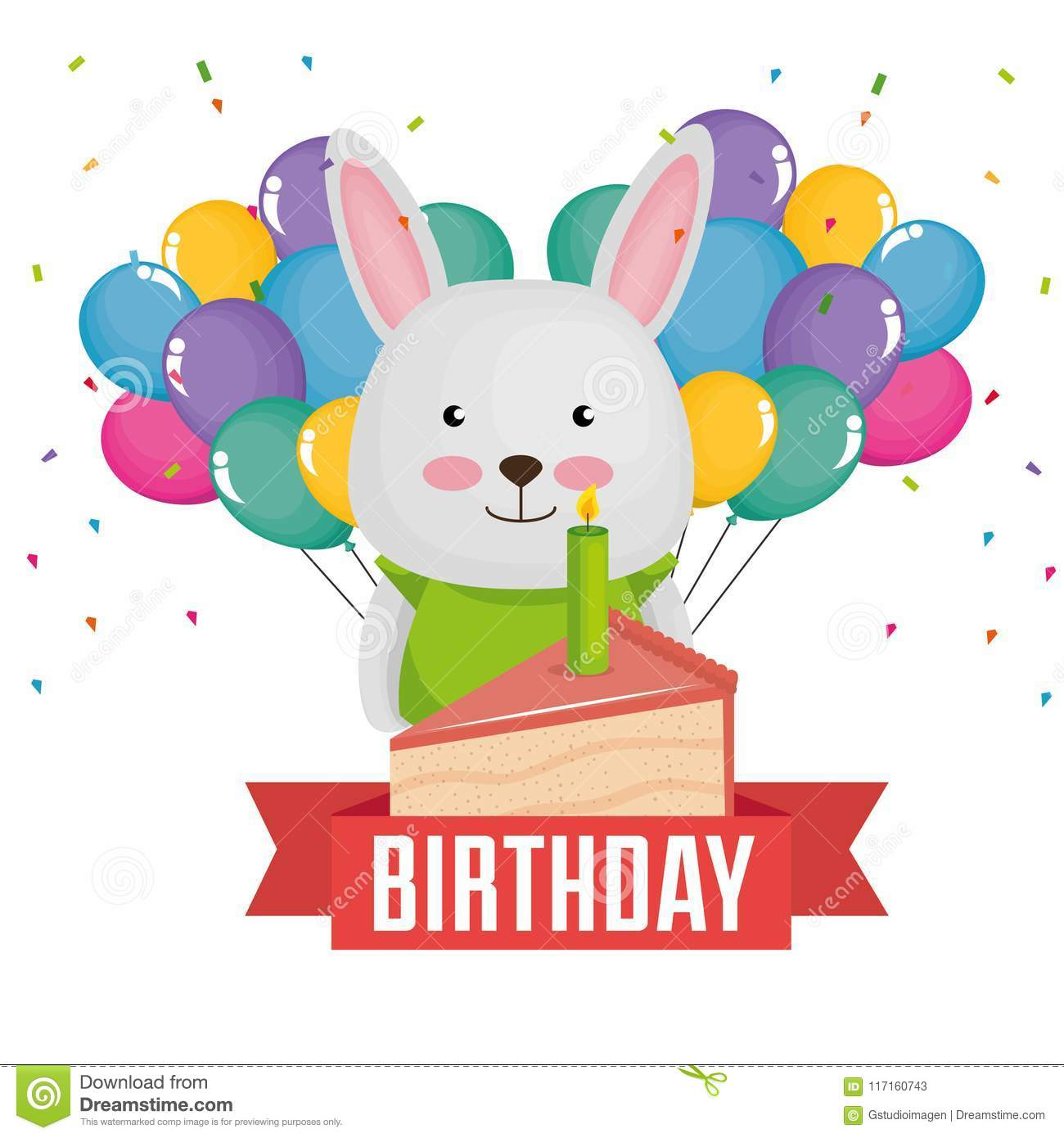 Happy Birthday Card With Cute Rabbit