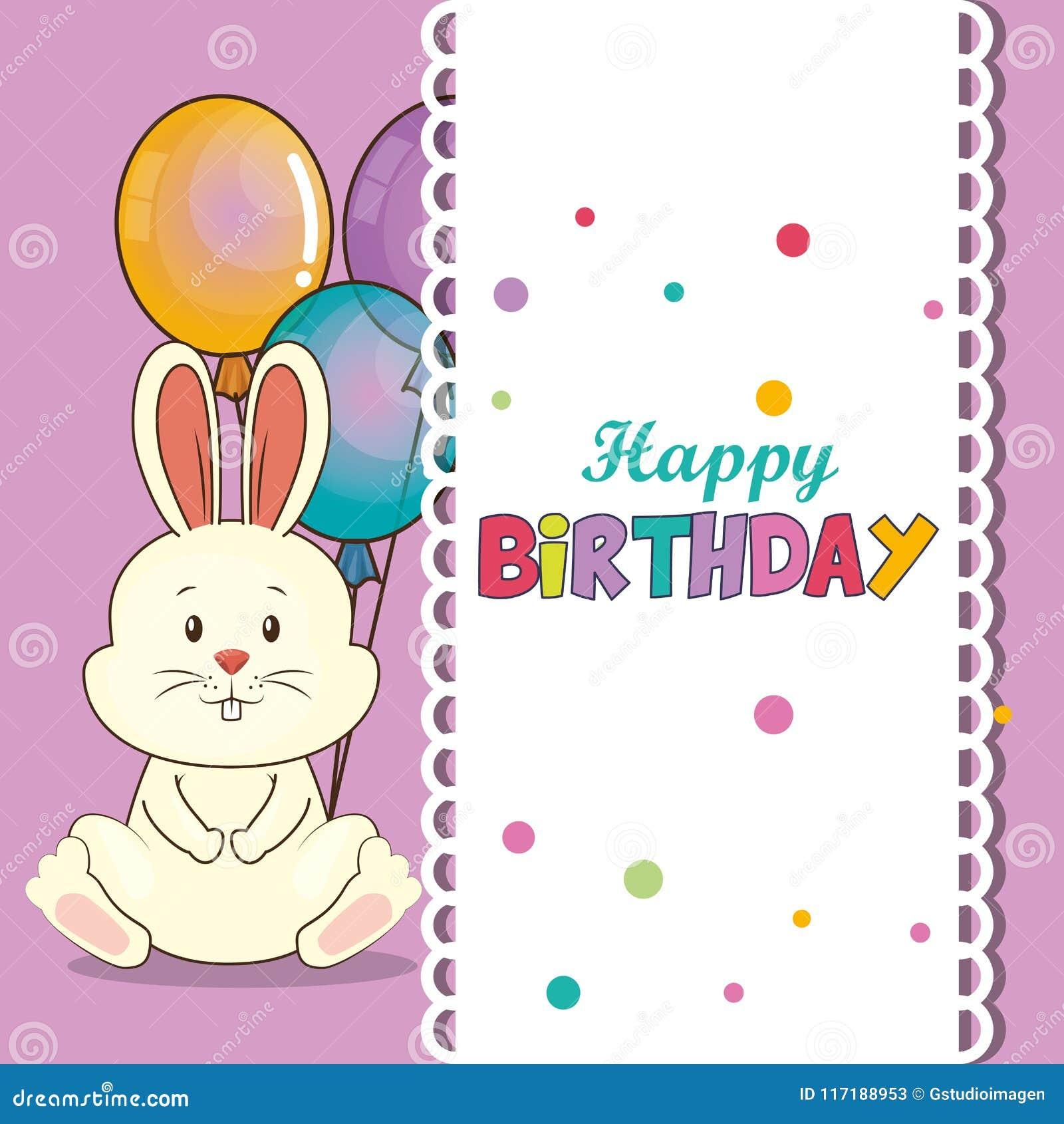Happy Birthday Card With Cute Rabbit