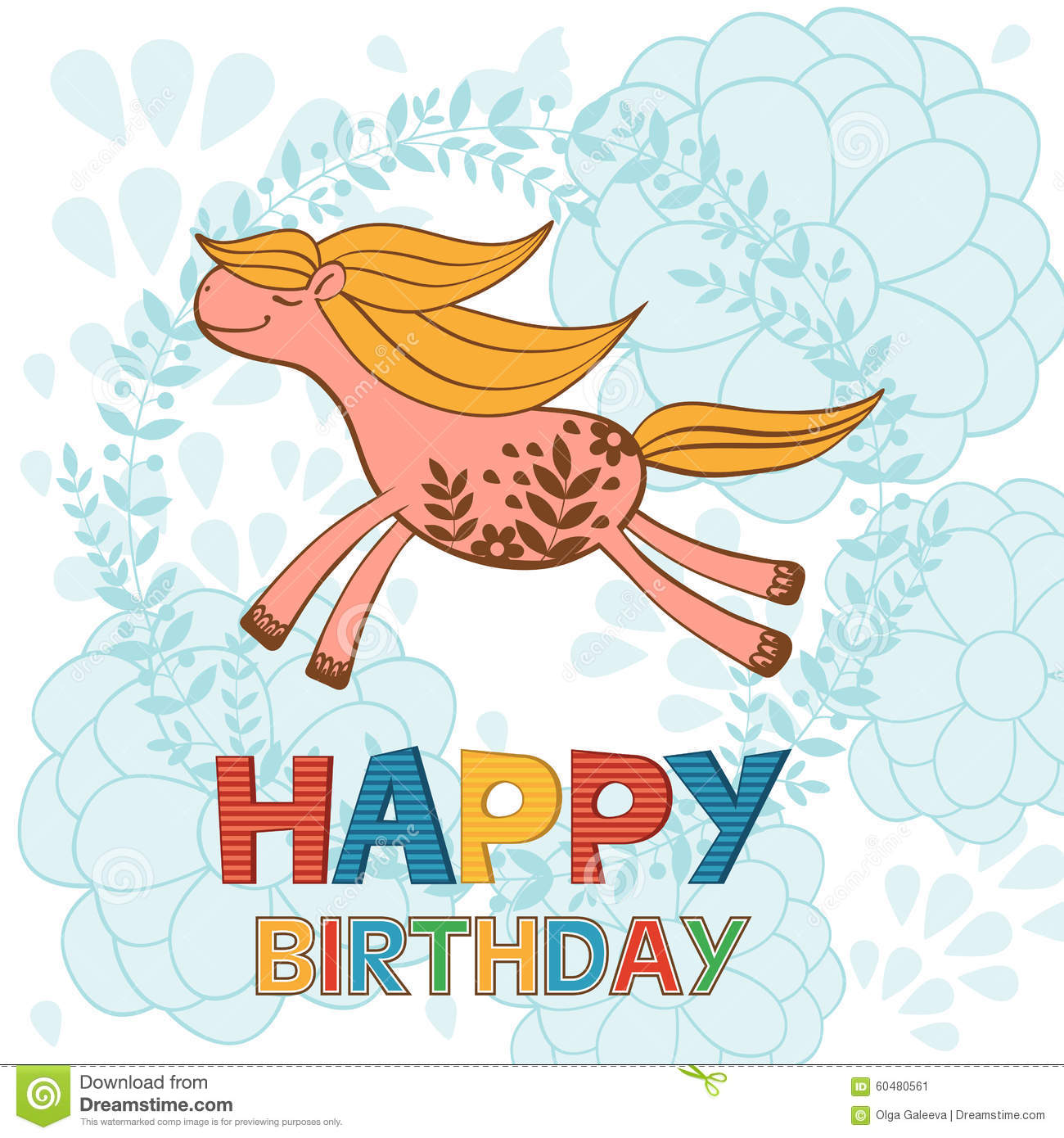 Happy Birthday Card With Cute Running Horse
